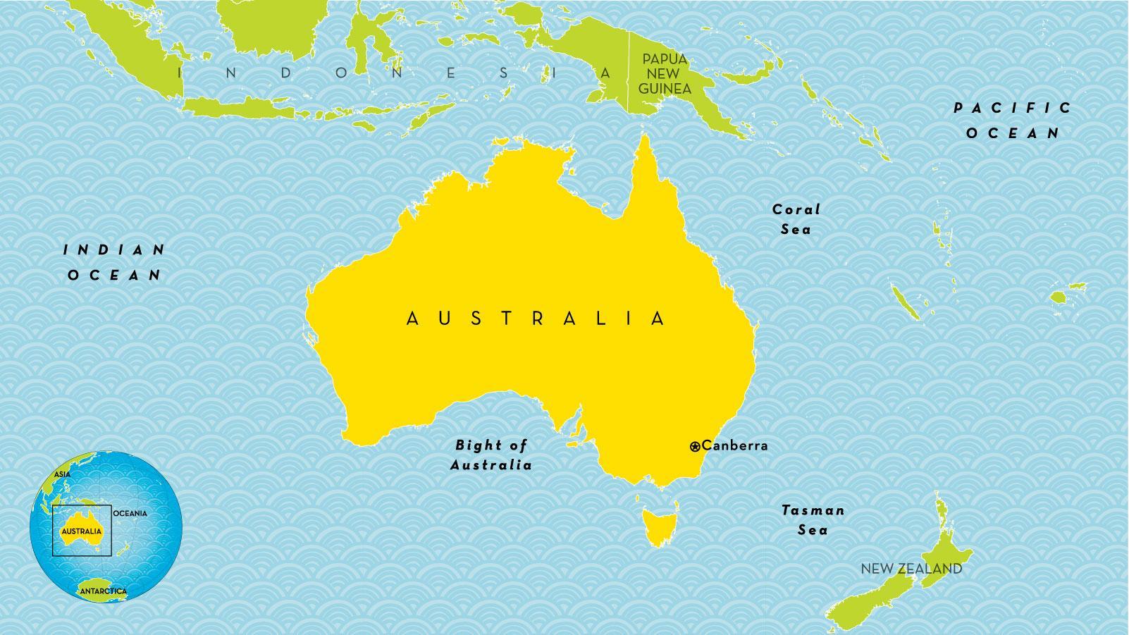 Australien Karta Lander.Australien Land Karta Land Karta Over Australien Australien Och