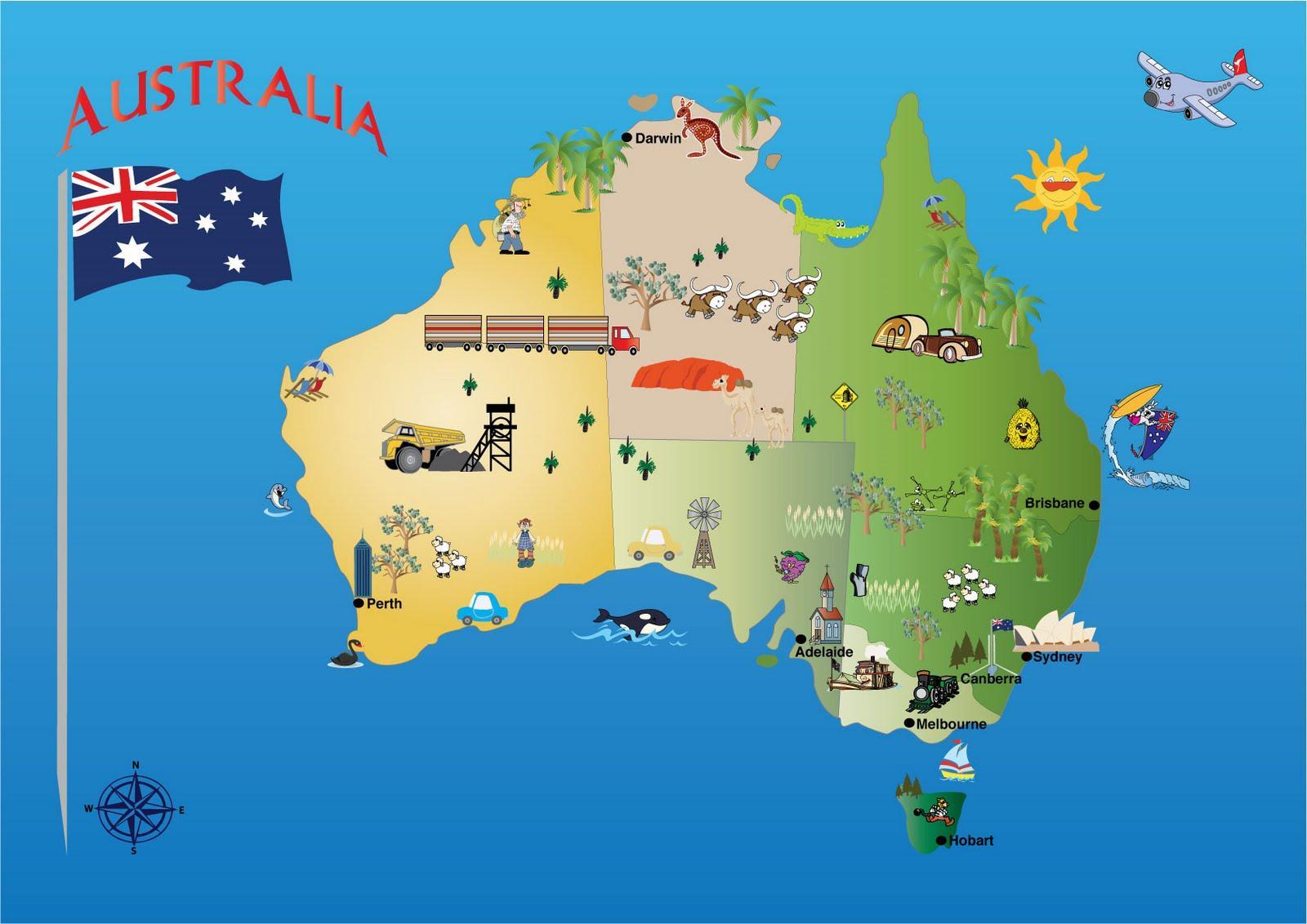 Karta Australien Adelaide.Australien Sevardheter Karta Australien Karta Turistattraktioner