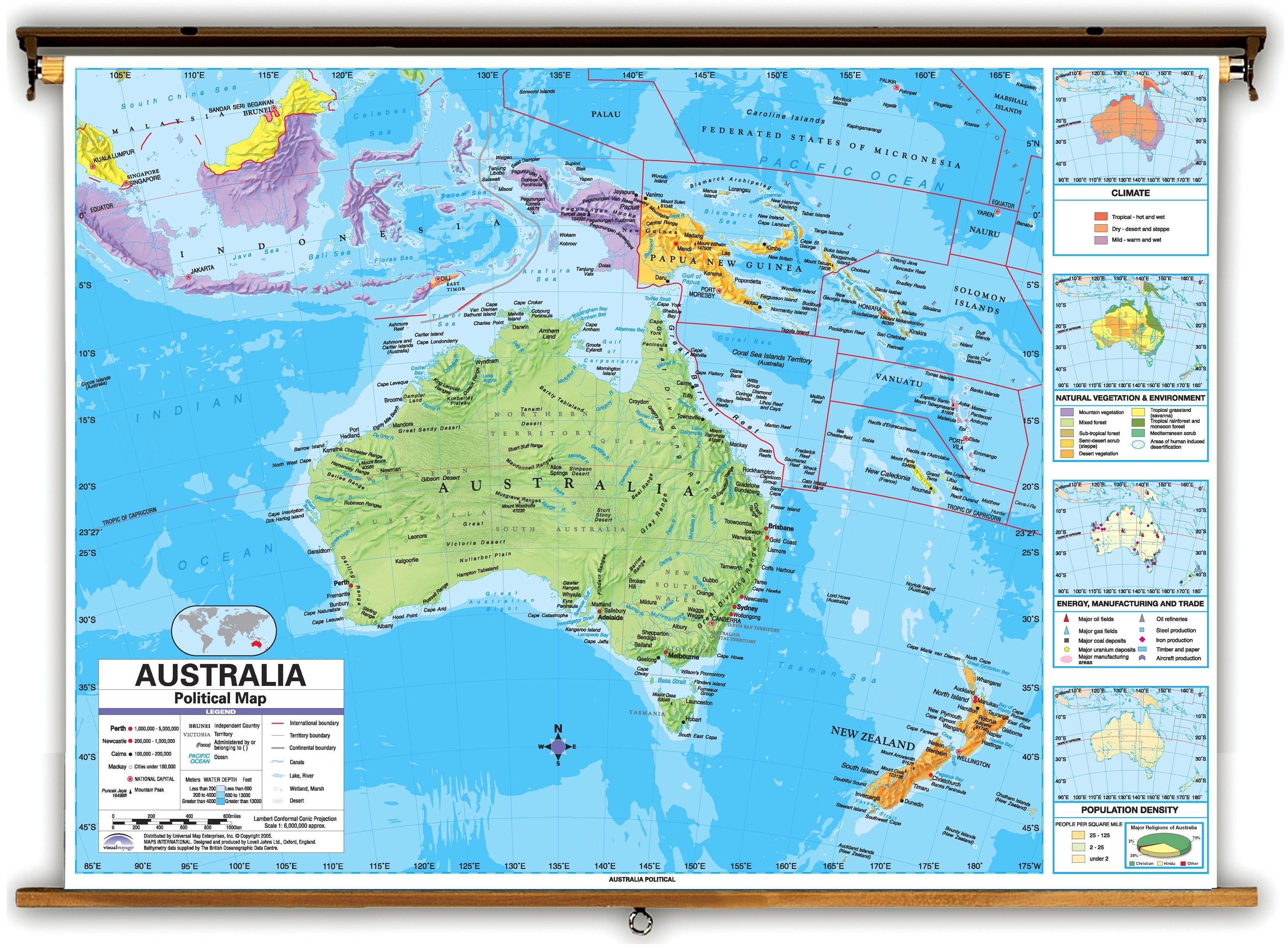 Australien Karta Lander.Karta Over Australien Och Omgivande Lander Australien Och