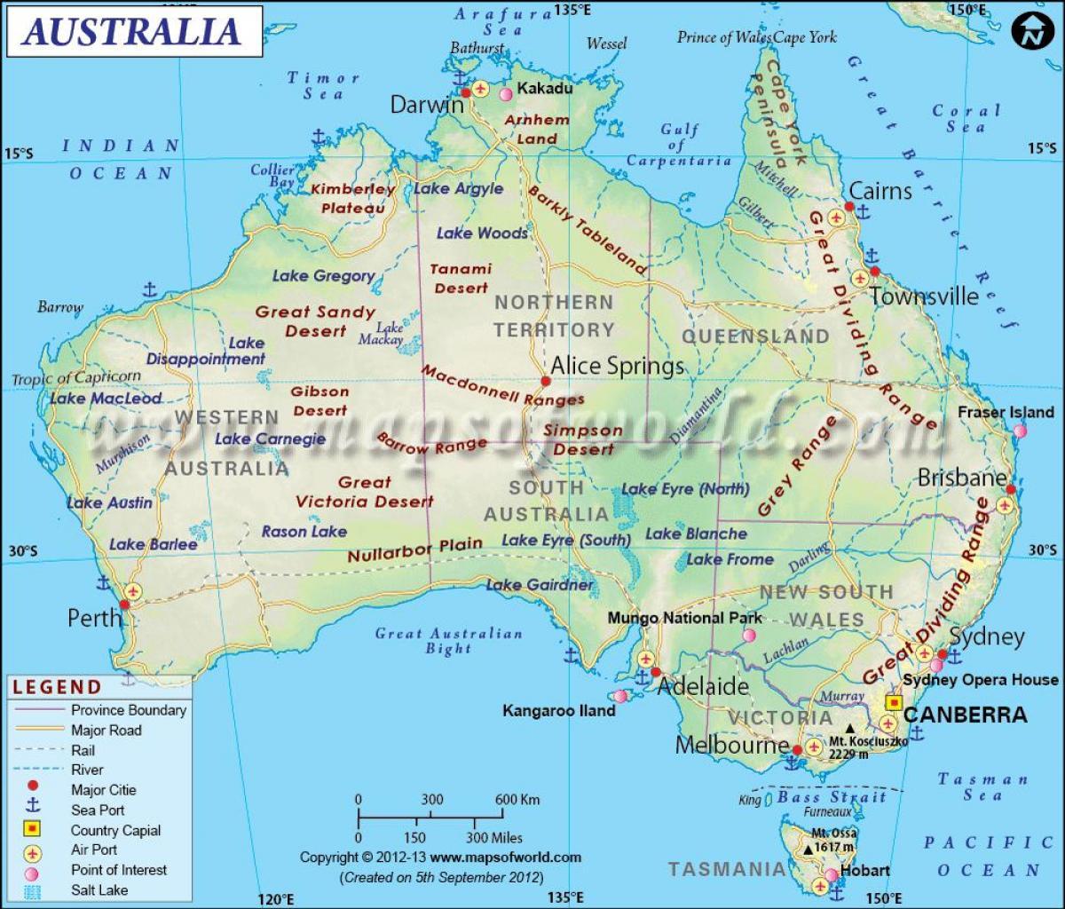 Australien Karta Lander.Australien Inkomst Karta Karta Over Australien Med Versaler