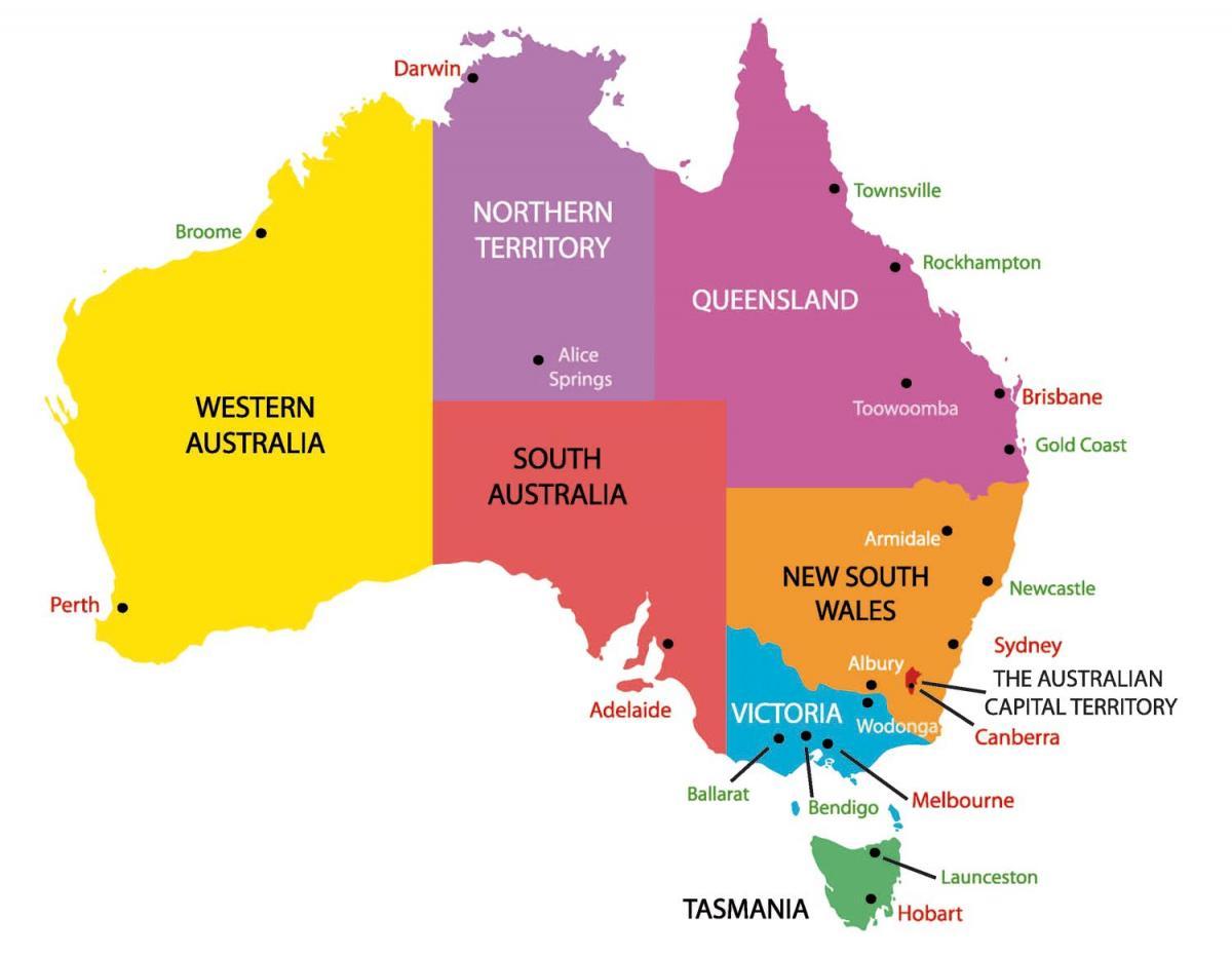 Australien Karta Lander.Australien Karta Med Lander Och Stader Karta Over Australien Med