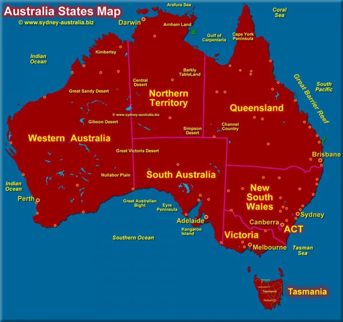 Australien Karta Lander.Australien Karta Med Stater Karta Over Australien Visar Staterna