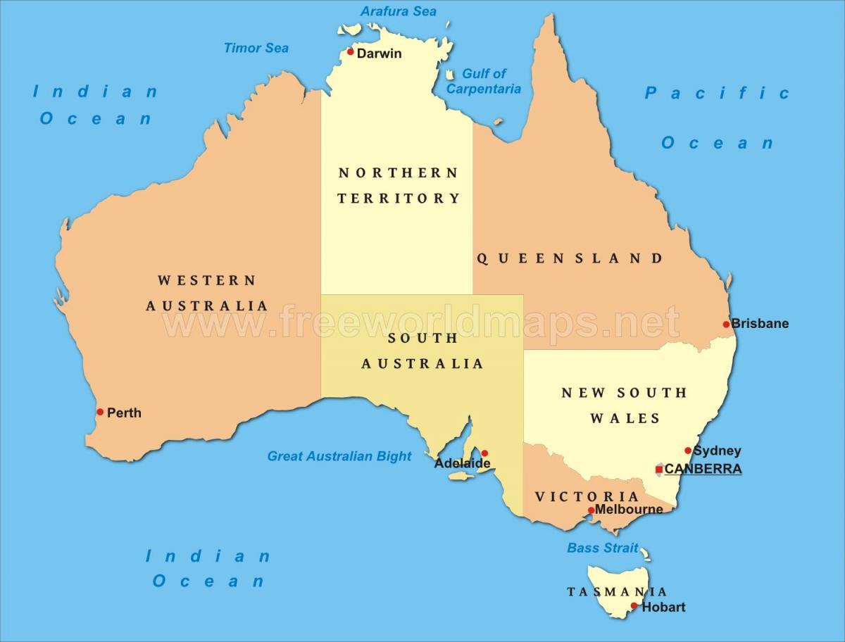 Karta Australien Adelaide.Australien Storre Stader Karta Karta Over Australien Med Stora