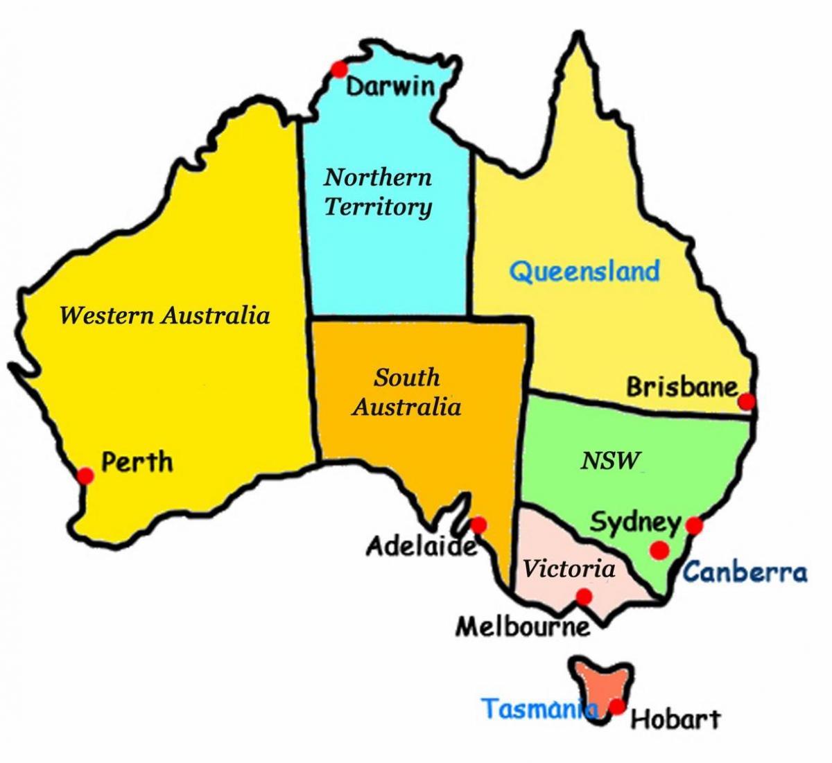 Australien Karta Lander.Australien Stater Karta Karta Over Australien Med Lander